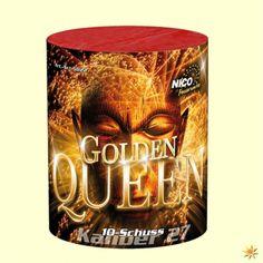 Golden Queen - Batteriefeuerwerk, 10 Schuss Feuerwerk Feuerwerkskörper Batteriefeuerwerk, Feuerwerksbatterien
