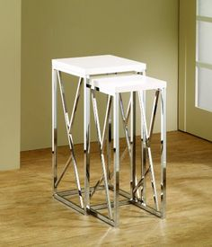 High Gloss White Two Piece Tall Nesting Table Set With Chrome Base And  Decorative Cross Bars
