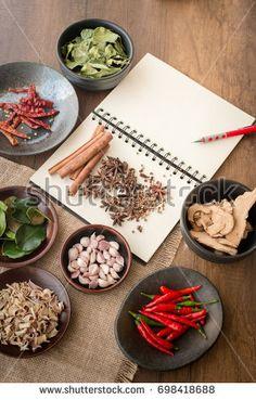 Tom Yum ingredients on wood table