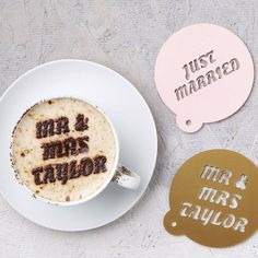 Personalised Wedding Gift Coffee Stencil - these would be fun for serving coffee at the reception