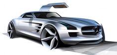 Mercedes-Benz SLS AMG Design Sketch http://www.carbodydesign.com/design-sketch-board/?sort=popular