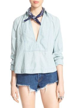 FREE PEOPLE 'Ready Or Not' Linen & Cotton Top. #freepeople #cloth #