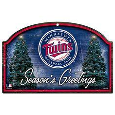 Minnesota Twins Season's Greetings Wood Sign