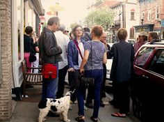 The crowd outside the opening of #PortiaMunson's Solo Show at Cross #ContemporaryArt #Saugerties Photo: Phyllis Segura