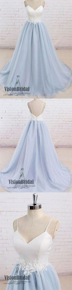 Light Blue Spaghetti Straps White Top Prom Dress With Appliques, Open Back Floor Length Prom Dress, Prom Dresses, VB0265 #promdress