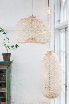 Ceiling Light Bamboo Oval, beide Lampen gut