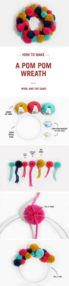 How to make a Pom Pom Christmas Wreath with Wool and the Gang.