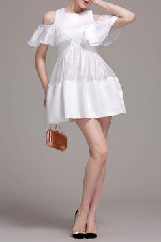 T&c.g White Cold Shoulder Mini Splicing Dress | Mini Dresses at DEZZAL Click on picture to purchase!