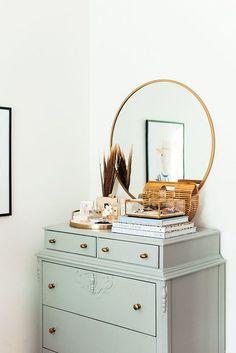 Green painting vintage dresser