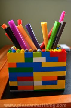 Container Made of Legos for the Boys' Art Desk Supplies! Cute and Brilliant!