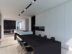 Minimalist Living Room Ideas and Inspiration Minimal Kitchen, Modern Kitchen Design, Interior Design Kitchen, Modern Interior, Interior Architecture, Küchen Design, House Design, Cuisines Design, Kitchen Living