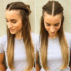 20 Hairstyles for Greasy Hair That Hide Oily Roots Double French Braid Crown Greasy Hair Hairstyles, French Braid Hairstyles, Box Braids Hairstyles, Cool Hairstyles, Style Hairstyle, Hairstyles Videos, Braids For Short Hair, Short Hair Styles, Greasy Hair Styles