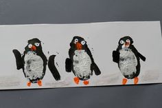 potato print birds (penguins). I can make robin redbreasts too