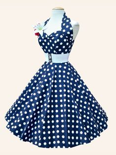 50s-1950s-Vivien-of-Holloway-Best-Vintage-Reproduction-Halterneck-Circle-Dress-Navy-White-Polkadot-Rockabilly-Swing-Pinup