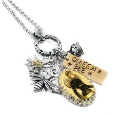 Honey Jewelry Bee Necklace Silver Bee Jewelry- Honey Bee Bumble Bee... (24 KWD) ❤ liked on Polyvore featuring jewelry