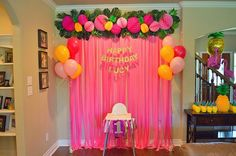 Pineapple First Birthday Party - cute smash cake set-up!