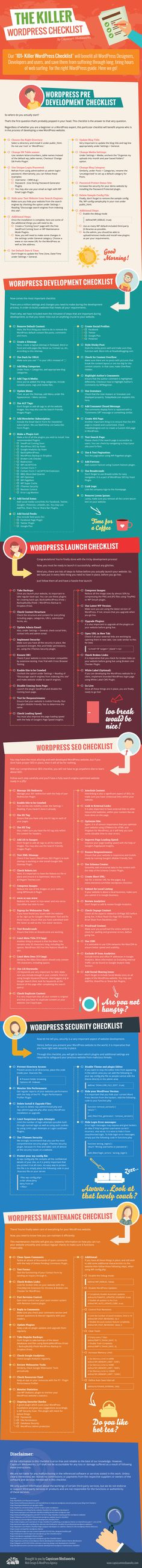 WordPress Checklist (Infographic): 101+ Easy Steps to Follow Muy completa, 101 tareas divididas en 9 secciones desde la instalación, el lanzamiento al mantenimiento.   Getting Started WordPress Pre Development Checklist WordPress Development Checklist Wor