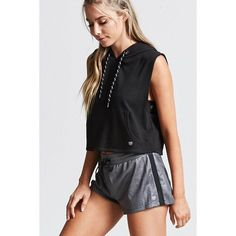 Forever21 Active Sleeveless Hoodie found on Polyvore featuring polyvore, women's fashion, clothing, tops, hoodies, black, sleeveless hooded sweatshirt, sweater pullover, hooded pullover and sleeveless hoodies
