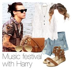 """""""REQUESTED: Music festival with Harry"""" by style-with-one-direction ❤ liked on Polyvore featuring H&M, Ray-Ban, OneDirection, harrystyles, 1d, lucluc and harry styles one direction 1d lucluc"""