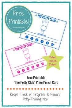 Free Printable potty training reward punch card, like a reward chart on a carry sized card to help encourage, build confidence, and keep potty training kids on track. For both boys and girls :)