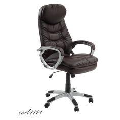 Leather Office Chair Lumbar Adjustment Boss Bussines Seat Rolling Deep Brown  #Modernbussineschair