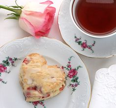 Strawberry Cream Cheese  Scones (love the china also!)