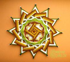 "Woven mandala ""Cammomile"" yarn mandala huichol art ojo de dios handmade wall decor hanging colorful eye of god indian style"