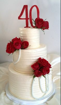 anniversary cake - For all your Ruby Anniversary cake decorating supplies… 40th Anniversary Decorations, 40th Wedding Anniversary Party Ideas, 40th Anniversary Cakes, Ruby Anniversary, Anniversary Parties, Anniversary Ideas, Aniversary Cakes, Parents Anniversary, Ruby Wedding Cake