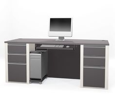 #Bestar Connexion Modern Office Desk (2) Box/Box/Files and Keyboard Shelf