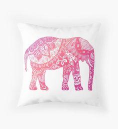 Light Pink Elephant Throw Pillow