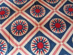 Bold ca 1880 red white & blue patriotic Mariner's Compass quilt w quilted hearts | eBay, pco2000