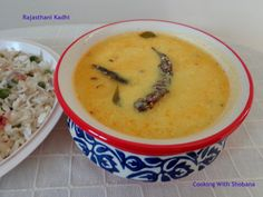 Rajasthani Kadhi, a light curry made with yogurt, Bengal Gram Flour and spices.