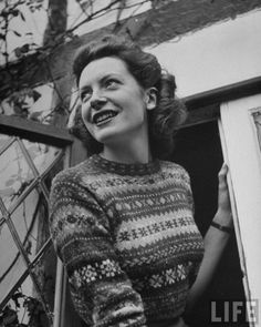 """deborahkerr: """" Deborah Kerr at the drawing room window of her home. Photographed by Ian Smith for LIFE magazine, September """" Deborah Kerr, Old Hollywood Stars, Classic Hollywood, The Sweetest Thing Movie, Nostalgia, Fair Isles, British Actresses, Classic Actresses, Girls Sweaters"""