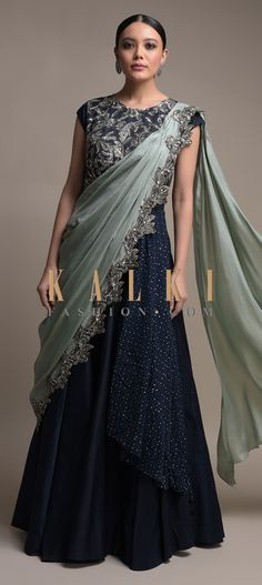 Buy Online from the link below. We ship worldwide (Free Shipping over US$100)  Click Anywhere to Tag Midnight-Blue-Indowestern-Gown-With-Grey-Pre-Stitched-Drape-Online-Kalki-Fashion Indian Designer Outfits, Indian Outfits, Designer Dresses, Stylish Dress Designs, Stylish Dresses, Pakistani Dress Design, Pakistani Dresses, Indian Gowns, Indian Wear