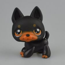 Hasbro Littlest Pet Shop LPS Figure Loose Toy Rare Black Dog Pug Doberman Puggy