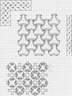 Graph Paper Drawings, Graph Paper Art, Art Drawings Sketches, Easy Drawings, Celtic Patterns, Celtic Designs, Geometric Drawing, Geometric Art, Celtic Knot Tutorial
