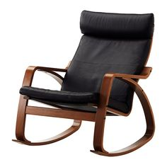IKEA - POÄNG, Rocking chair, Glose black, medium brown, , The frame is made of layer-glued bent beech which is a very strong and durable material.Soft, durable and easy care leather which is practical for families with children.Extra cushions mean it's easy to give both your sofa and room a new look.The high back provides good support for your neck.10-year limited warrranty. Read about the terms in the limited warranty brochure.