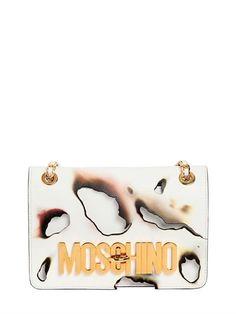 MOSCHINO - MEDIUM LOGO LETTERING BURNED LEATHER BAG - SHOULDER BAGS - WHITE - LUISAVIAROMA