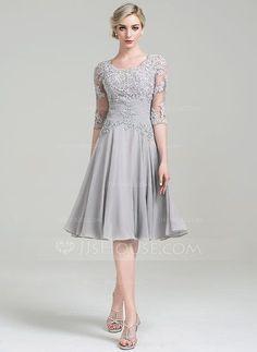 1be47ee792b1 A-Linie Princess-Linie U-Ausschnitt Knielang Chiffon Kleid für die  Brautmutter mit Rüschen Applikationen Spitze (008085301)