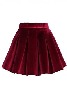 Glossy Velvet Pleated Mini Skirt in Burgundy