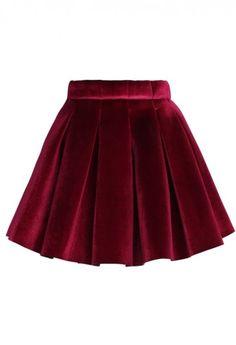 Glossy Velvet Pleated Mini Skirt in Burgundy