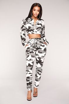 Jogging Away From You Lounge Set - Grey Camo