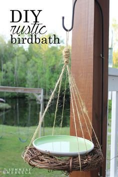 This super simple DIY rustic birdbath can be created in less than 10 minutes! All you need is a few supplies that you probably already own. MUST SEE! http://thesummeryumbrella.com/2016/04/diy-rustic-birdbath/