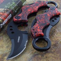 Red Skulls Folding Pocket Knife Karambit Serrated Stainless Steel Blade K18 #ZHunter