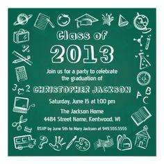Class of 2013 Chalkboard Graduation Invitation. Fun Class of 2013 Graduation Card with School Symbols on a School Chalkboard. Great for Preschool, Kindergarten Grads.
