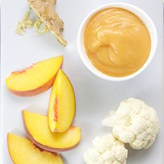 Peach + Cauliflower Baby Puree with Ginger (6+ month baby purées)