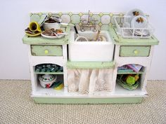 Dollhouse miniature filled Sink Unit in green and white