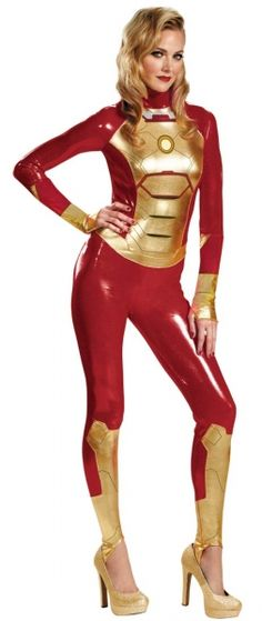 Adult Pepper Potts Lady Iron Man Mark 42 Adult Costume - Female Avenger  Includes: One (1) Bodysuit with Thumbhole in Cuffs.  Glow In The Dark Palm Reactors!  Sizes Available: Small (4-6), Medium (8-10), Large (12-14), XL (18-20)