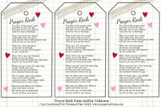 prayer rock.  Make copies of these for girls to make bookmarks and also have them make their own prayer rock.