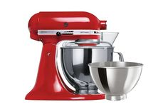KitchenAid Empire Red Stand Mixer with Bowls from Minimax. The original planetary mixing action of the KitchenAid Artisan Stand Mixer ensures your ingredients are perfectly combined. Kitchen Aid Appliances, Kitchen Aid Mixer, Kitchenaid Artisan Stand Mixer, Chef's Choice, Vegetable Slicer, Stainless Steel Bowl, Head Stand, Ice Cream Maker, Empire